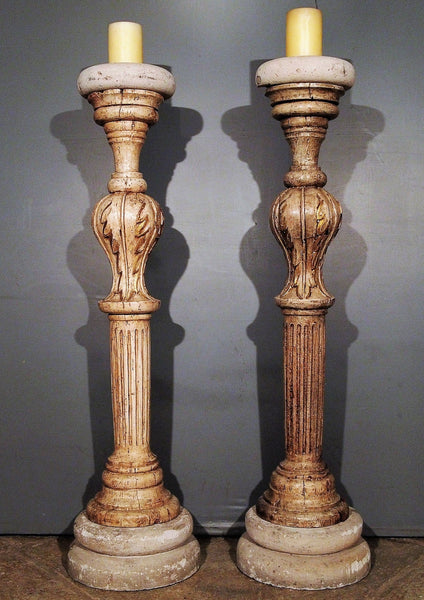 Pair of white gessoed wood and Cantera stone Candlesticks