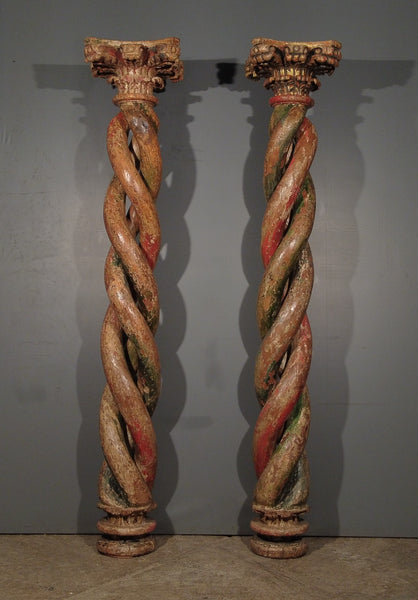 Pair of Twisted Columns from 18th c. Peru