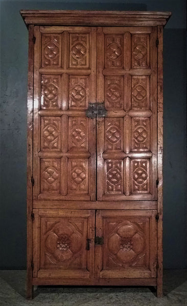 18th c. Large carved Armoire from Michoacan, Mexico.