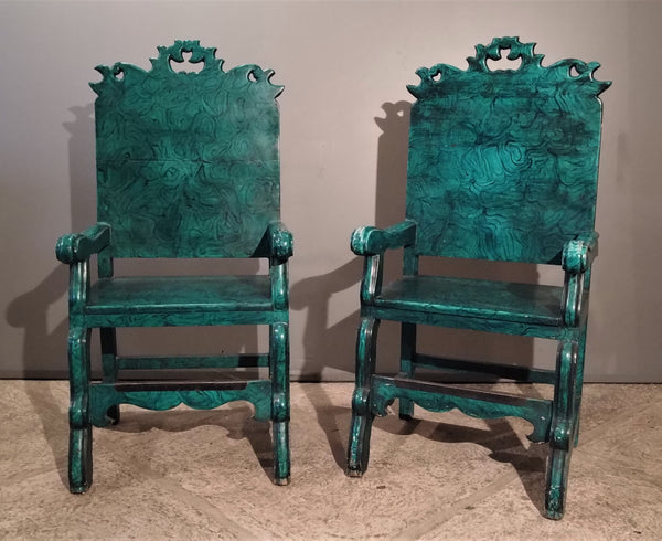 Pair of Faux painted malachite chairs.