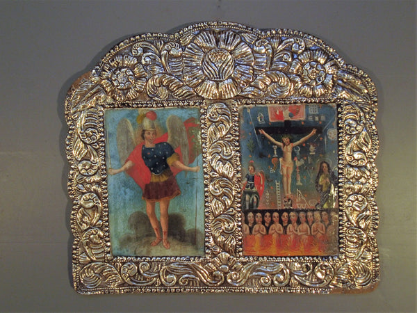 Sterling Silver Frame from Peru with Mexican Retablos: