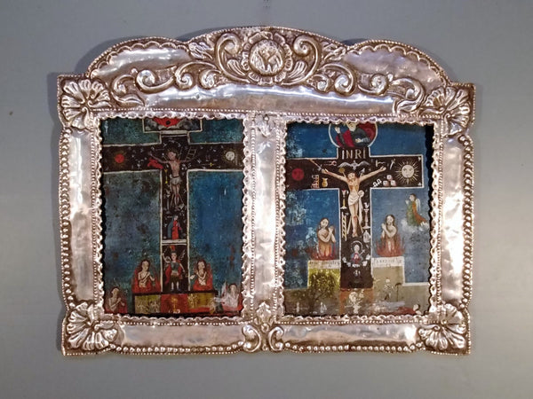 Sterling Silver Frame from Peru with Mexican Cruz de Animas Retablos