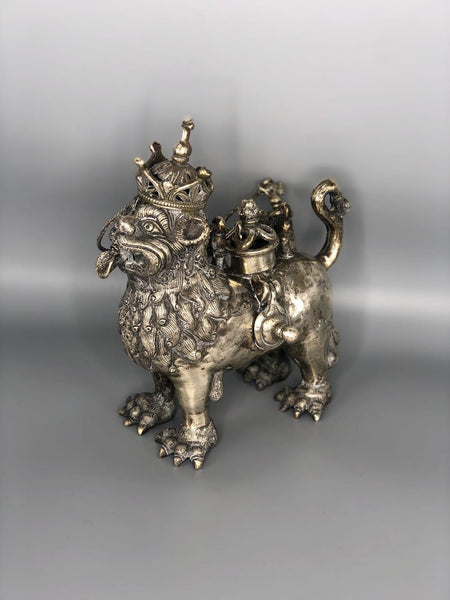 Ceremonial Sterling Silver Teapot in the form of a Lion