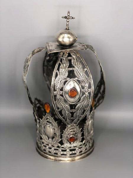Spanish Colonial Sterling Silver Crown set with semi precious Stones