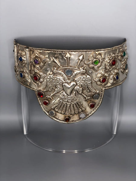 Transitional Inca and Spanish Colonial Sterling Silver Crown and Belt from the Andean Region of Peru
