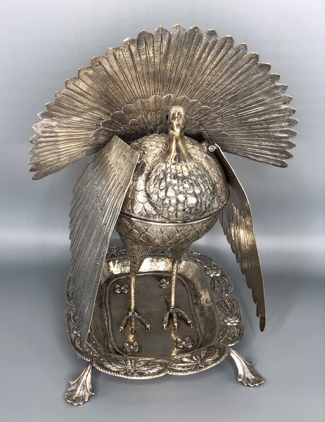 Spanish Colonial Sterling Silver Incense Burner in the form of a Turkey