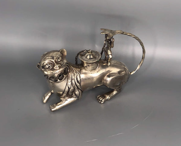Spanish Colonial Sterling Silver Ceremonial Teapot in the form of a Jaguar