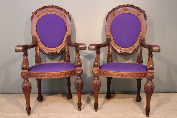 Spanish Colonial Oval Back Chairs from Peru