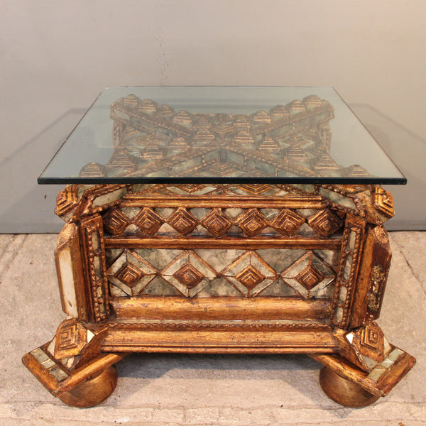 Colonial Revival Side Table with Glass Top