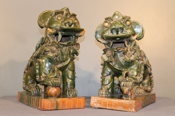 Glazed Green Foo Dogs from Indonesia