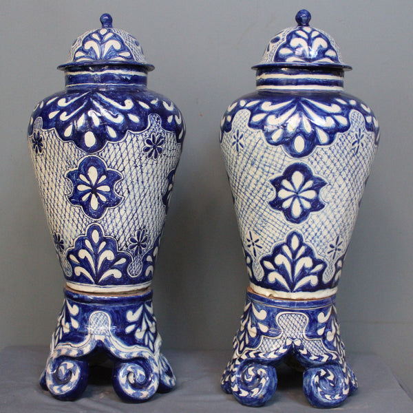 Blue and White Talavera Jars on Stands from Mexico.