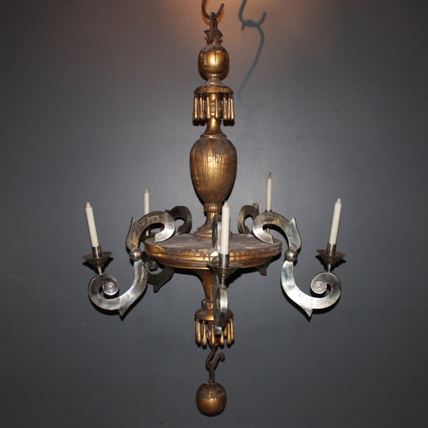 Antique Chandelier with Alpaca Silver Arms from Mexico