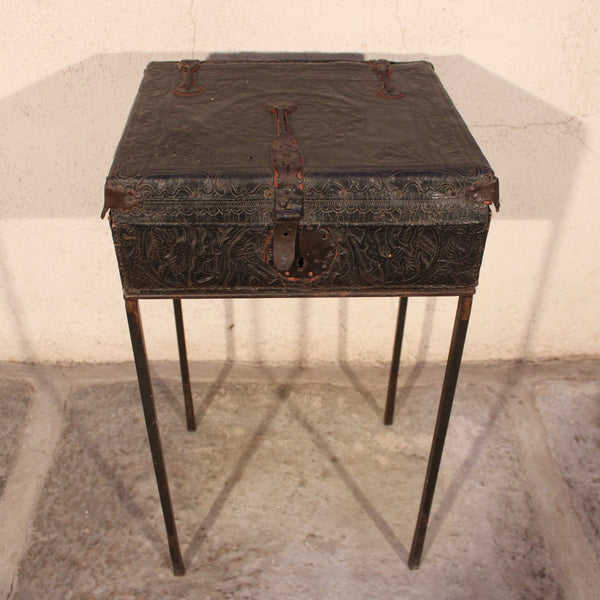 Leather Chest on Iron Stand from Peru