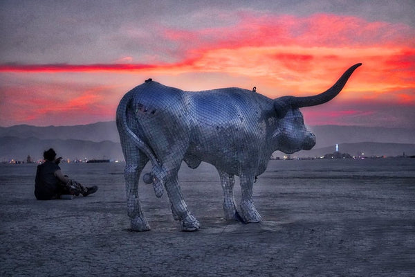 "Disco Bull made from thousands of 1"" square Mirror Ball mirrors with fiberglass and metal structure."