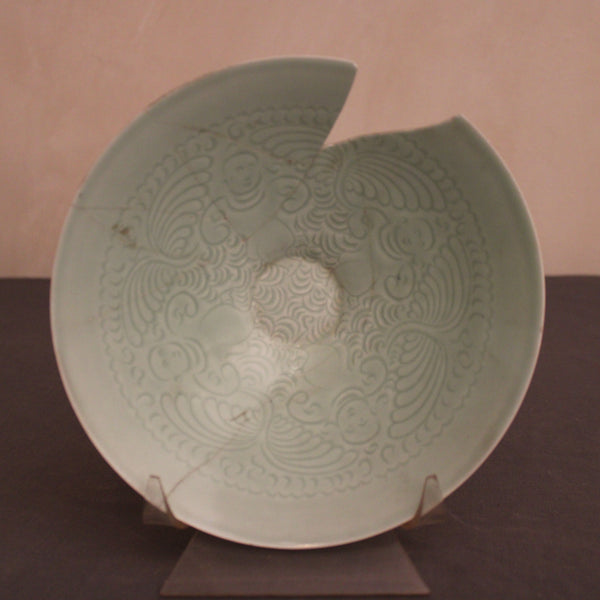 Celadon Plate with Scroll from Indonesia