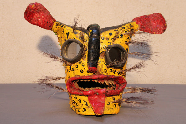 Ceremonial Leather Tiger Masks from Mexico