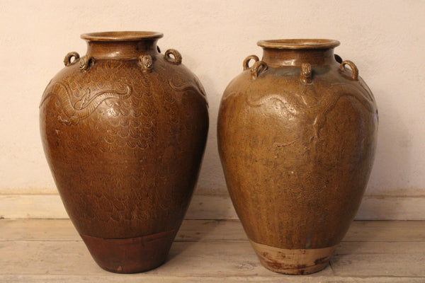 Brown Shipping Martaban Jars from Indonesia