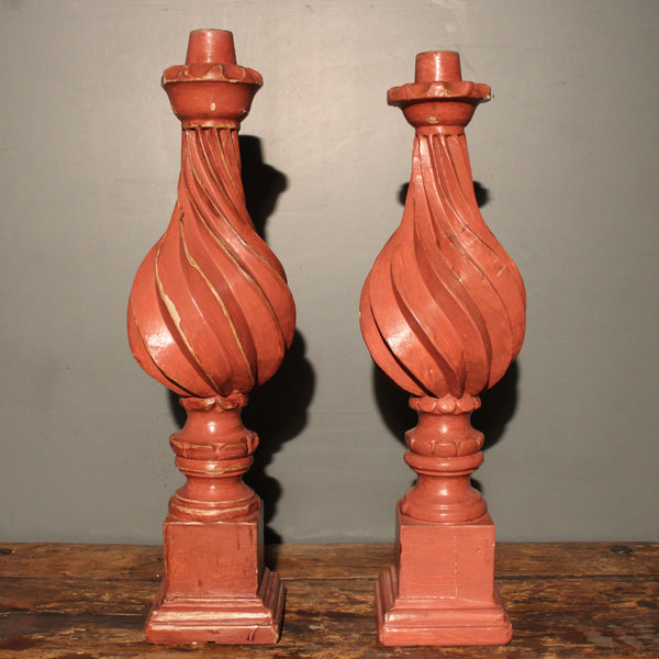 Pair of Red Painted Wooden Candlesticks from Mexico