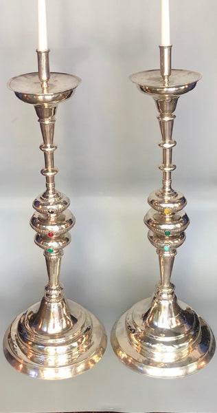 Pair of Spanish Colonial Sterling Silver Candlesticks