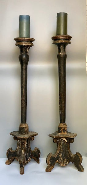 Pair of Early 18th c. Colonial Candlesticks from Mexico