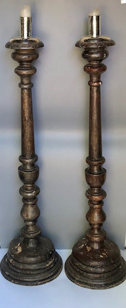 Pair of Dark Wood Candlesticks with retro fitted Silver Plated Candle Holders