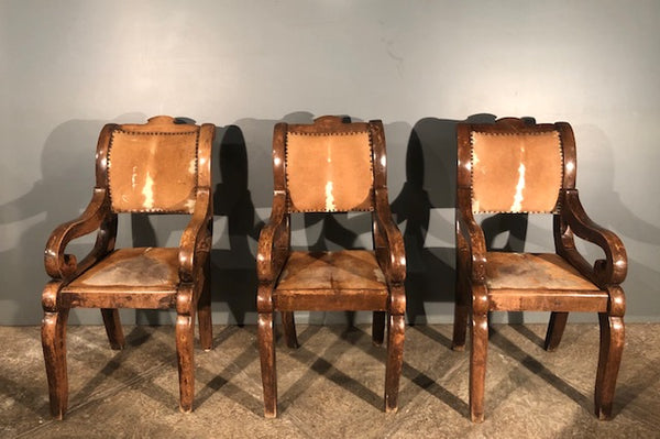 Three Mesquite and Cowhide Chairs from Mexico  .