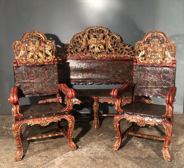 Spanish Colonial Set of Bench and Two Chairs