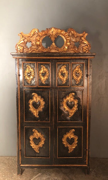 18th c. Colonial Corner Cabinet From Peru
