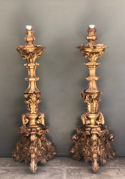 Spanish Colonial Very Large Gold Leafed Candlesticks