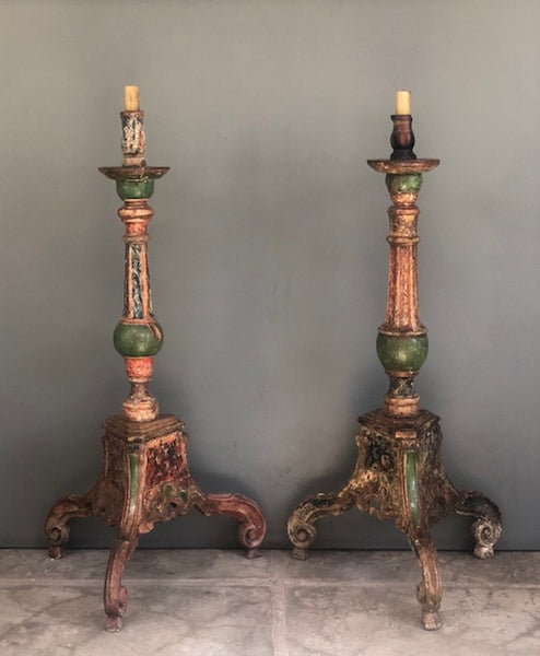 Pair of Tall 18th c. Colonial Candlesticks from the Andean Region of Peru
