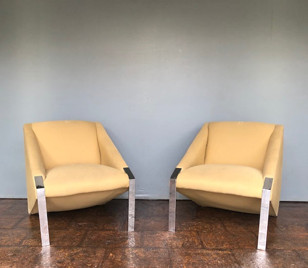 Pair of Contemporary Side Chairs with Chrome Legs