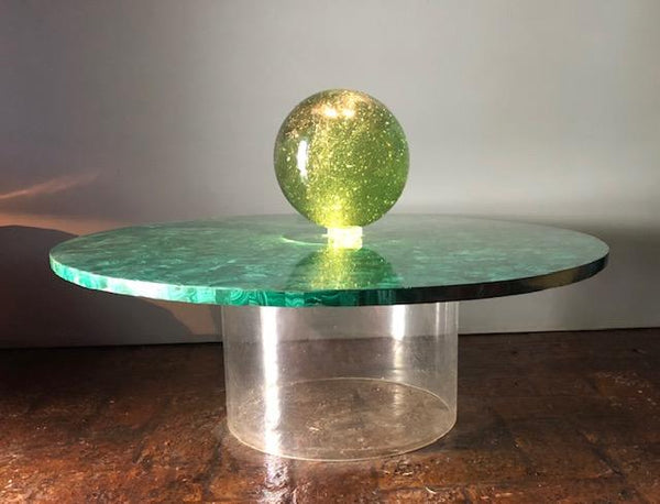 Round Malachite Table With Acrylic Base