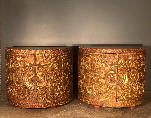 Demi-Lune Gold Leafed Consoles