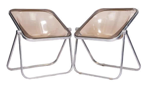 Pair of Leo Castelli folding lounge chairs