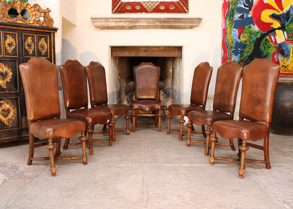 Seven Waxed Suede Leather, High back Dining Chairs
