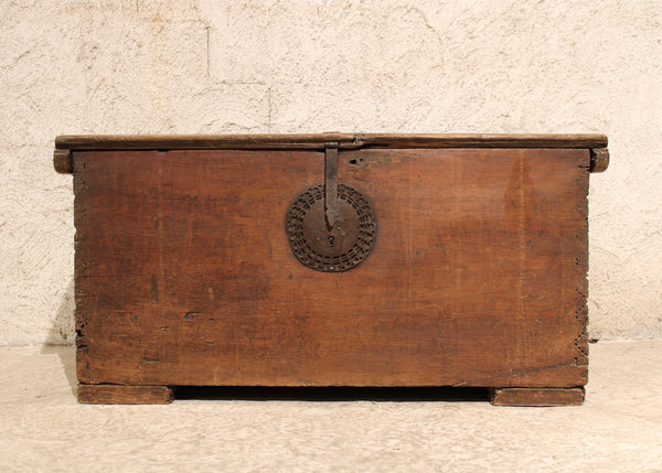 Mexican Trunk with Pyramid style Dovetailing and Original Forged Iron Lock and Hardware
