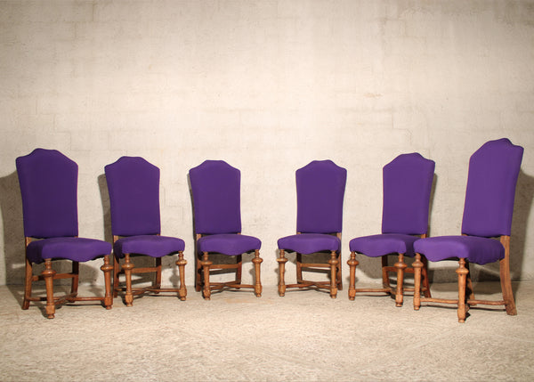 Set of 8 High back Dining Room Chairs from Mexico