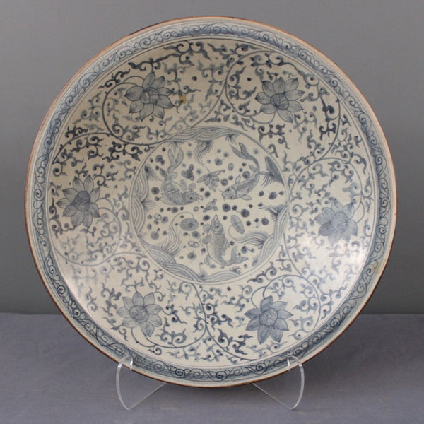 Chinese Blue and White Plate with Hibiscus Flowers and Goldfish