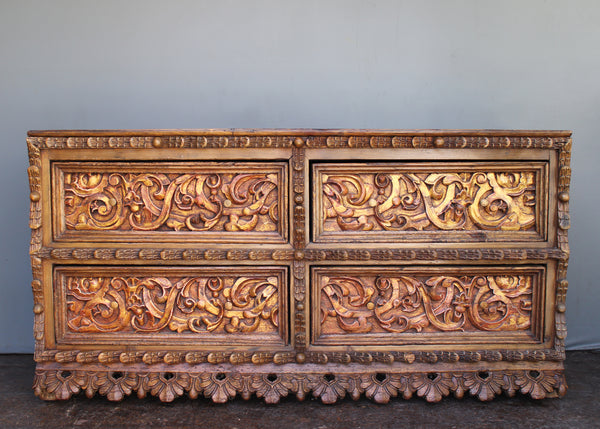 Spanish Colonial Revival Sideboard with 18th c. Carved Panels