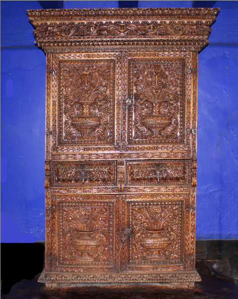 Heavily Carved Peruvian Armoire / Display Cabinet