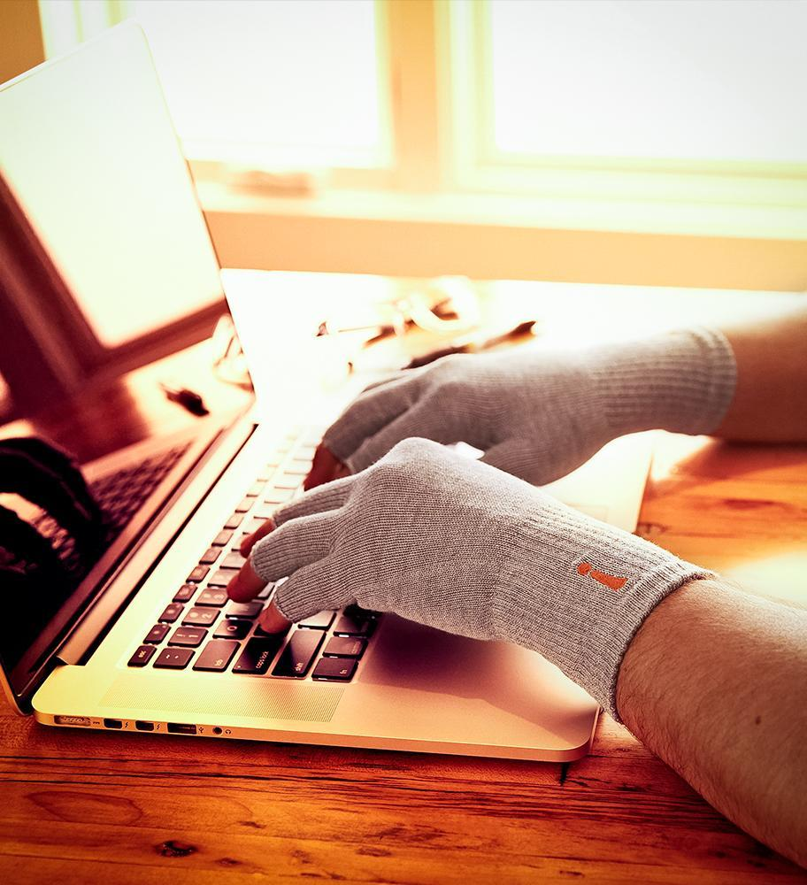 Typing with Incrediwear Circulation Gloves
