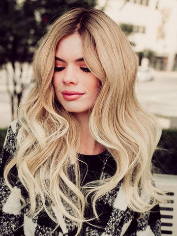 Long Blonde Human Hair Wig