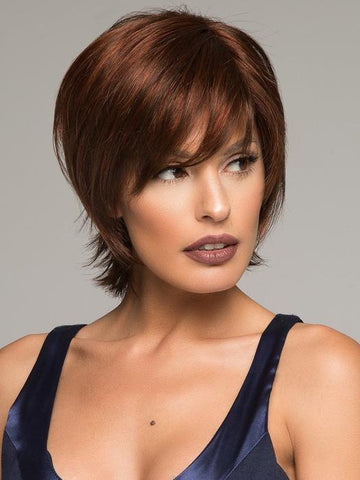 Short, Brown Wig with Bangs