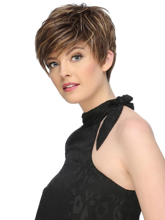 Short Asymmetric Pixie with Long, Side Swept Bangs