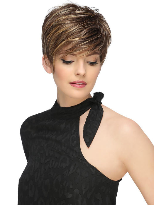 She's a bold, asymmetric pixie featuring a sheer lace front. Subtle layering allows for natural movement