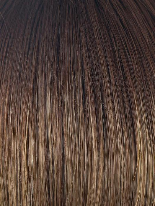 MOCHACCINO-LR | Longer dark root with light brown base and strawberry blonde highlights