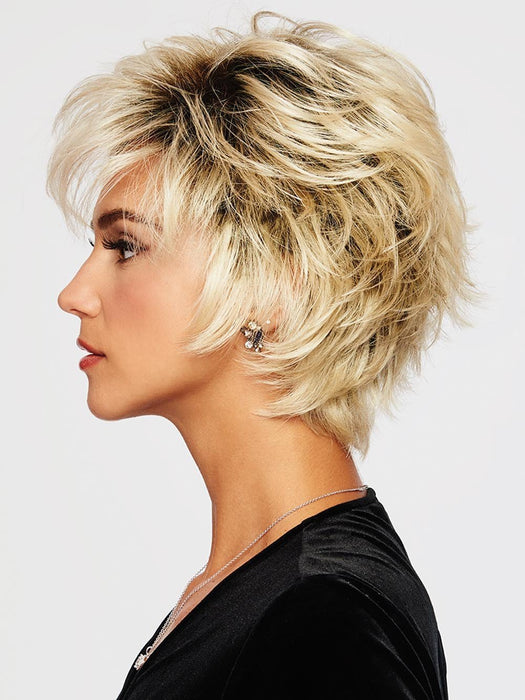 VOLTAGE LARGE by RAQUEL WELCH | 20th Anniversary | SS613 SHADED PLATINUM | Light Golden Blonde with Dark Roots