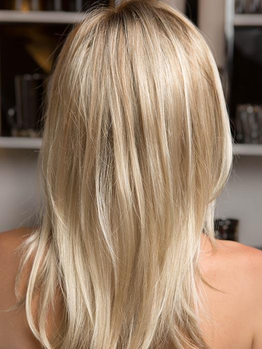 GLAMOUR MONO by ELLEN WILLE in LIGHT HONEY ROOTED | Medium Honey Blonde, Platinum Blonde, and Light Golden Blonde Blend with Dark Roots