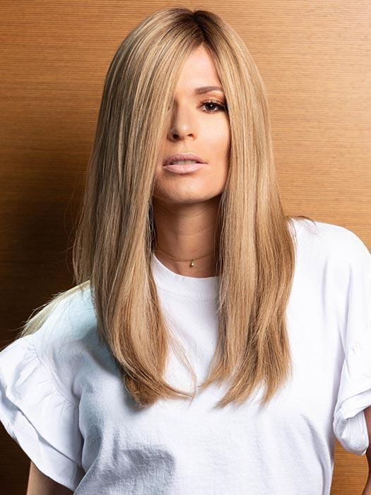 PLF005 by LOUIS FERRE in SPRING ACORN | Dark Brown Root and Medium Blonde Blended with Light Brown Tones (This piece has been styled and straightened)
