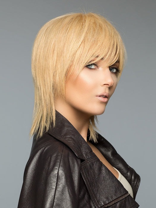 This style has a Machine Tied cap and is made with award-winning Human Hair. Exceptional value for a high-end human hair wig